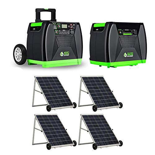 Nature's Generator Elite Portable Solar and Wind Powered 3600W Generator Kit with Power Pod and 100W Solar Power Panels (4 Pack)