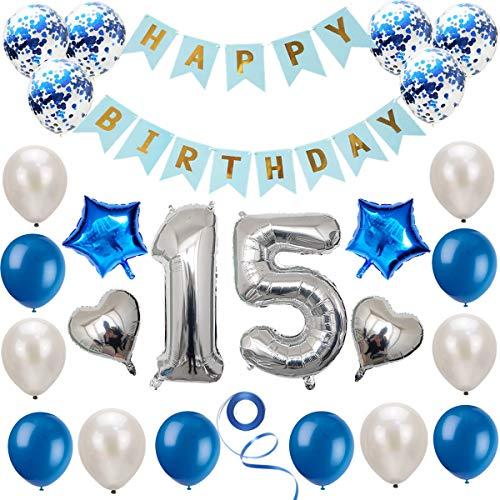 Haosell Juego de decoración de cumpleaños para niñas, jóvenes, mujeres, hombres y mujeres, 15 años de edad