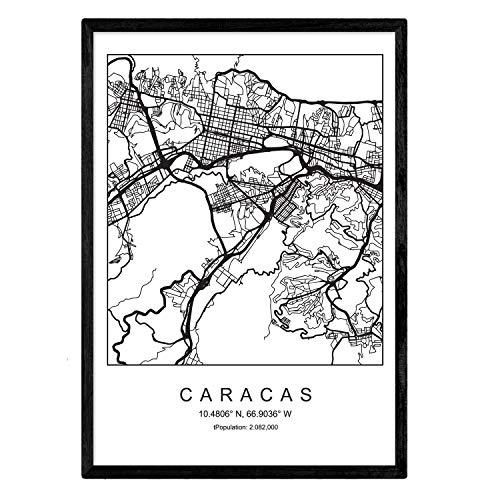 Nacnic Lámina Mapa de la Ciudad Caracas Estilo nordico en...