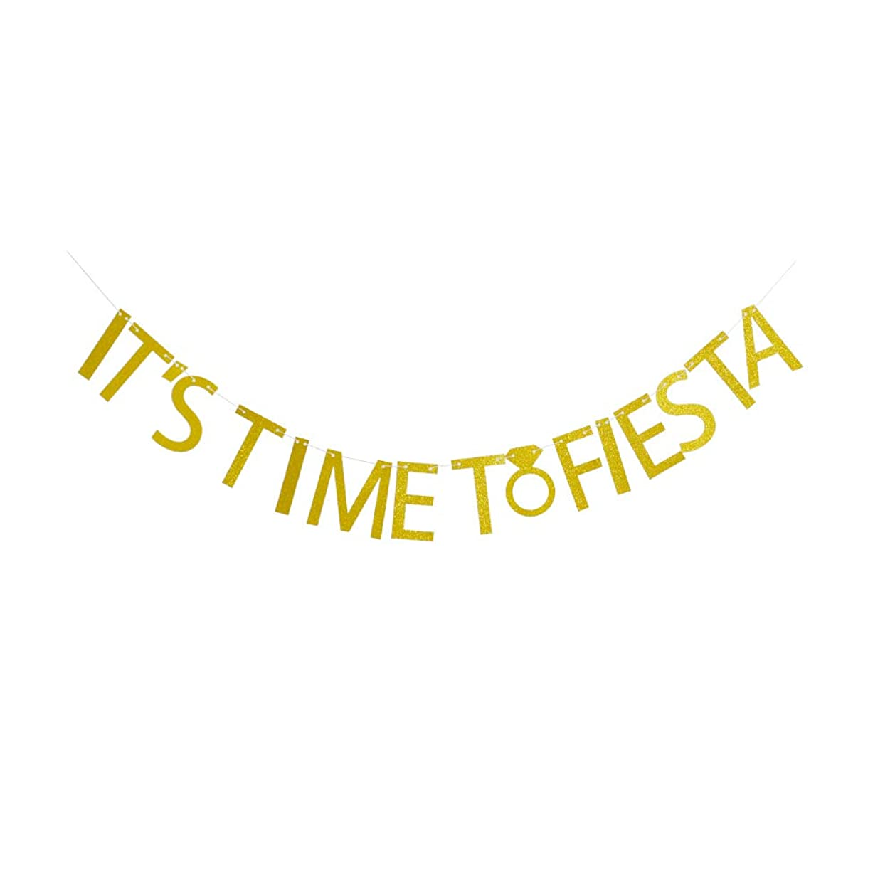 It's Time to Fiesta Banner for Funny Engament/Birthday/ Graduation/Promotion/ Bacholorette/Wedding Party Supplies, Gold Glitter Party Decorations ptmmy2495