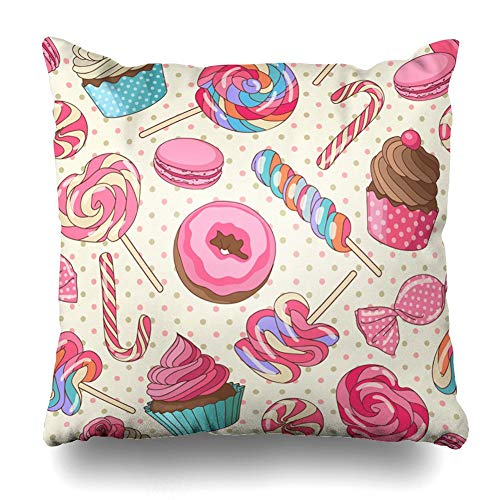 JIMSTRES Decorativepillows Case Throw Pillows Covers for Couch/BedYummy Colorful Sweet Lollipop Candy Macaroon Cupcake Donut Yellow Home Sofa Cushion Cover Pillowcase Gift 18x18 inches