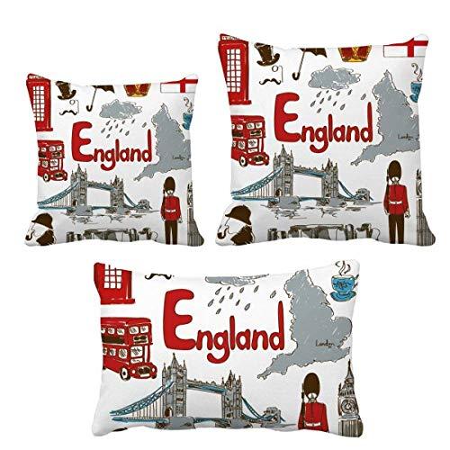DIYthinker - Juego de fundas de cojín con diseño de bandera nacional de Inglaterra