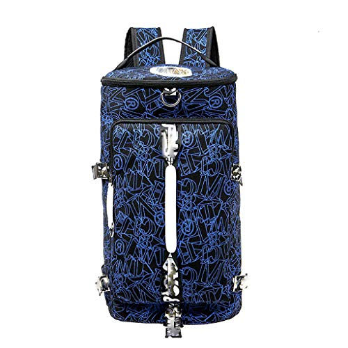 Canvas Blue Ball Bag Dubbele Schouder Basketbal Speciale Tas Taekwondo Sporttas Ronde Drum Bag Drie Pack