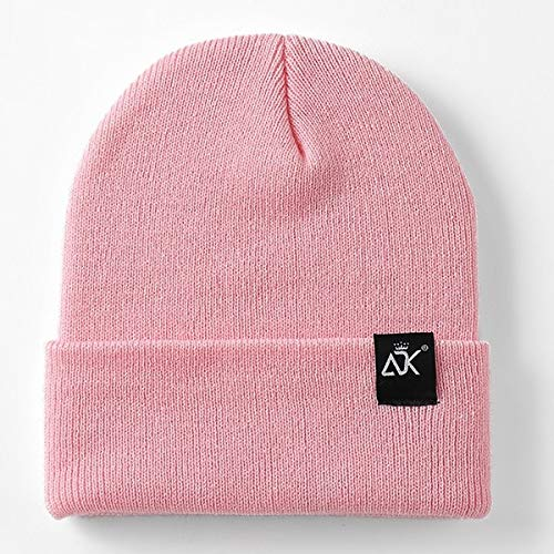 Sombreros Unisex Gorra Tejida Mujer Beaines para Invierno Hombres Transpirables Gorras Sombreros Simples Cálido sólido Casual Lady Beanies-Pink