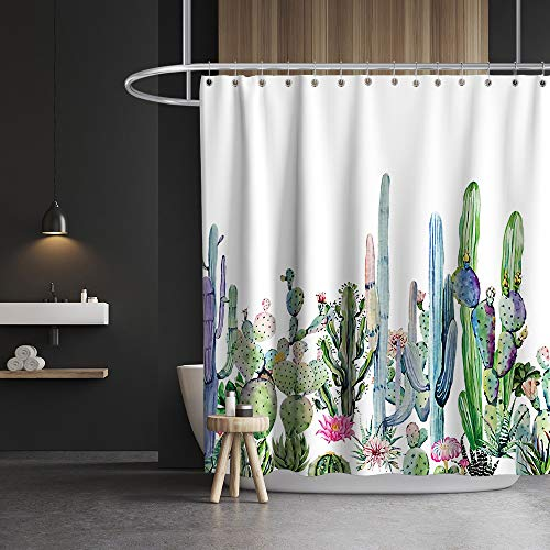 Desert Succulent Botanical Cactus Shower Curtain Boho Watercolor Painting Print Cloth Fabric Bathroom Decor Set with Hooks Waterproof Washable 72 x 72 inches Green
