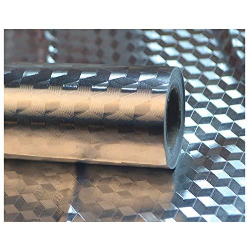 JMSL Papel Pintado Autoadhesivo Desmontable, Superficie de Trabajo despegable y Pegado, Papel de Aluminio, Adhesivo para Cocina a Prueba de Salpicaduras,Cubic Grid,60 * 500cm