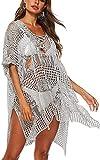chuangminghangqi Traje de baño de mujer de punto de ganchillo vestido de playa cuello en V verano sexy vacio traje de baño cubre tallas grandes bikini Cover Up gris Talla única