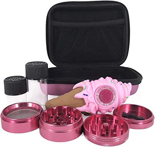 5-Piece Pink Grinder Set with Accessories, 4-Chamber Premium Grinder, Ice Cream Drop-Proof Piece, Travel Size Pink Storage Case, Birthday Gift for Mom, Sister Girls pink Grinder Set