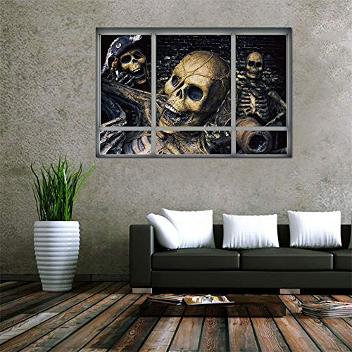 KDOAE Halloween Decal Wall Sticker Halloween Skeleton Window Clings 3D Fake Window Wall Sticker Supplies Decoration for Home Party Vinyl Art Decor (Color : A, Size : One size)