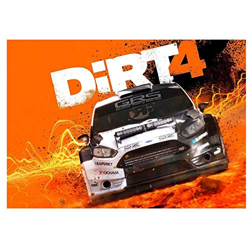 LYWUSUZE Dirt 4 Poster Xbox Windows New PS4 Rally Car Game Poster Print on Canvas Home Decorative Wall Art -60x80cm No Frame