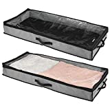 mDesign Soft Fabric Under Bed Storage Organizer Holder Bag for Clothing, Accessories, Boots - Easy-View Top Panel, 2-Way Zippered Lid, Side Handles, 2 Pack - Charcoal Gray/Black