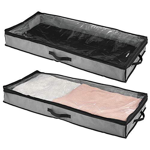 mDesign Juego de 2 cajas bajo cama – Cajón para debajo de la cama con tapa transparente para guardar sábanas o calzado sin polvo – Organizador de ropa para guardar bajo la cama – gris oscuro/negro