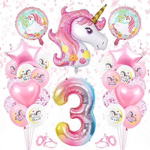Bluelves Palloncino Numero Unicorno 3, Numeri Gonfiabili Compleanno Unicorno 3, Huge Palloncino Numero 3, Palloncino Anno Compleanno Unicorno, Decorazioni Unicorno Numero 3 Palloncino per Ragazza