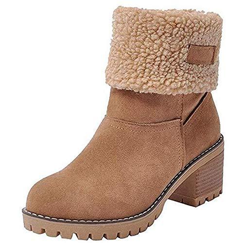 Damen Schneeschuhe Large Size Winter Neue Stiefel Plus Samt Wärme Damen Schneeschuhe, Khaki, 40 EU