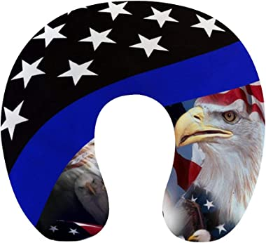 NiYoung Breathable Comfortable Thin Blue Line American Flag and Bald Eagle Neck Pillow Soft Memory Foam U Shaped Travel Pillo