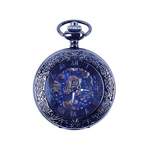 Vobajf Reloj de Bolsillo de la Vendimia para Hombre Reloj de Bolsillo mecánico Antiguo del Metal clásico con la Cadena de Reloj de Bolsillo mecánico Lupa tirón Mecánica clásica Cara Lisa