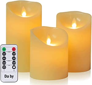"Da by Flameless Candle 4"" 5"" 6"" Set of 3 Realistic Dancing LED Flickering Wick for Parties,Home,Public Elegant Events, Battery Powered, 10-Key Remote Control, Ivory Color"
