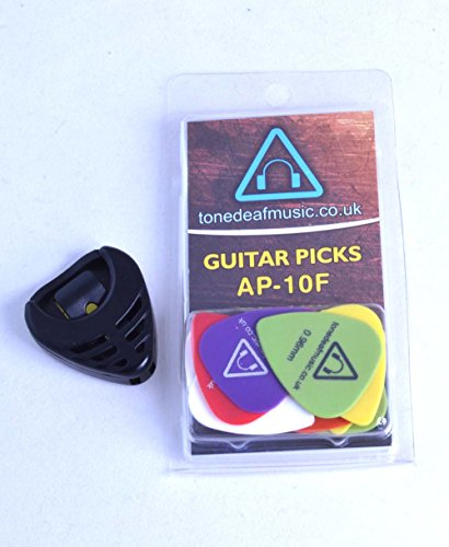 Tone Deaf Music Guitar Plectrums with Pick Holder (Pack of 10 picks)