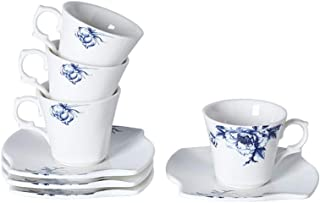 Porlien 2.8-ounce/80ml Espresso Cups Set of 4-Elegance Collection Blue Flower Trimmed in Gold Coffee Cup&Saucer White WEST...