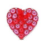 SODIAL(R) 24 Stueck rote duftende Badeseife Rosen-Blumenblatt im Herz-Kasten