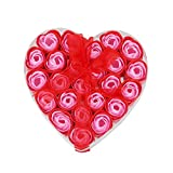 Fauge 24 Stueck rote duftende Badeseife Rosen-Blumenblatt im Herz-Kasten
