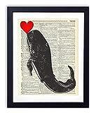 Whale With Heart - Whale Prints Wall Art Home, Bathroom & Nursery Wall Decor Upcycled Vintage Dictionary Art Print 8x10, unframed