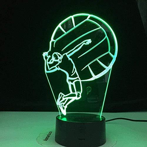 Lámpara 3D Luz De Noche Lámpara De Ilusión 3D Para Niños Juego Creativo De Voleibol Lámpara 3D Lámpara De Mesa De Escritorio De Ilusión Led Usb Lámpara De Mesa De Escritorio Usb De Noche 3D Regalos Pa