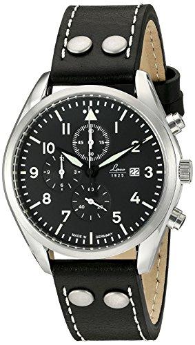 Laco/1925 orologioal quarzo, in acciaio INOX e pelle nera, casual (Model:...