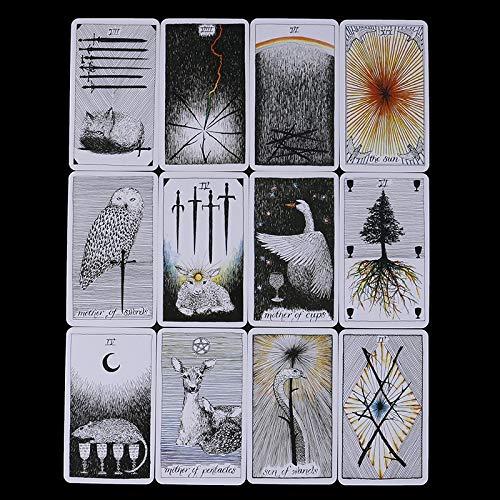 URNOFHW 78pcs / Tarjetas Misterioso Conjunto Tótem Animal Tarjetas de Tarot Deck 78 Cartas, Orientación - Juego de Mesa (Color : As pic)