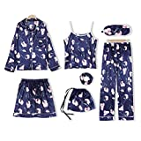 NIUXIAO Ropa De Dormir Mujer, Pijamas, Botones Estampado Conjunto De 7 Piezas Cómodo Loungewear para Casa Verano Otoño,H-M