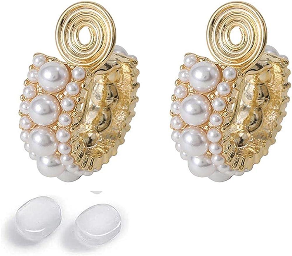 GRACE JUN Gold Color C Shape Hoop Clip on Earrings Women Silicone Cushion Non Pierced Ear Cuff Earrings