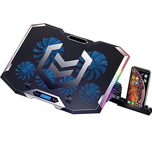 RGB Laptop Cooling Pad, Adjustable Gaming Laptop Cooler, 6 Quiet Cooling Fans and 6 Stand Height, Two USB Ports and One Phone Stand, LCD Screen and Rainbow Lights