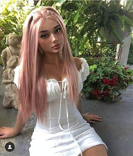 Lucyhairwig Straight Pink Synthetic Lace Front Wigs Heat Resistant Fiber Hair Middle Part Glueless Lace Front Wigs for Women