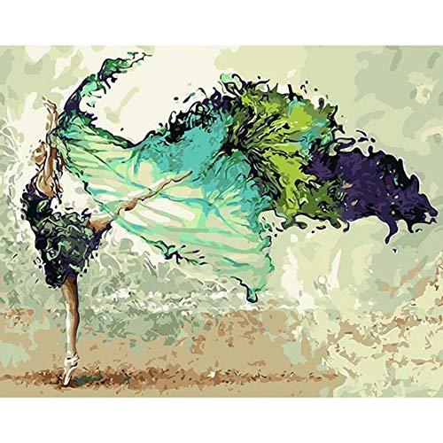 Pintura Por Números Kits Figura Bailarina Abstracta Pintura Al Óleo Imagen Por Números Pintura Acrílica Para La Decoración Del Hogar 16x20 inch (40x50 cm) Sin marco