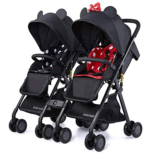 Doppel Kinderwagen Kinder SüßEste Design City Street Buggy Zwillinge Kinderwagens 8598,Red-Black