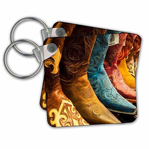 3dRose Arizona, Old Scottsdale, Line Up van nieuwe cowboylaarzen - sleutelhangers, 2,25-inch, set van 2 sleutelhangers, 6 cm, varianten