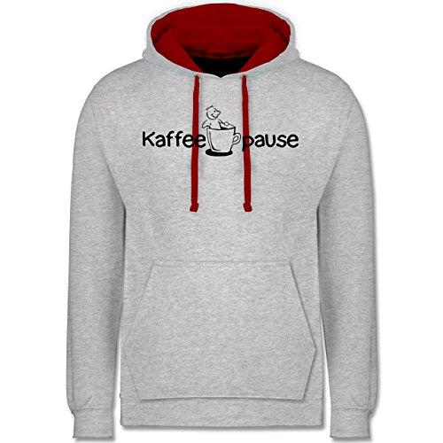 Shirtracer Küche - Kaffeepause - XL - Grau meliert/Rot - Krone - JH003 - Hoodie zweifarbig und Kapuzenpullover für Herren und Damen
