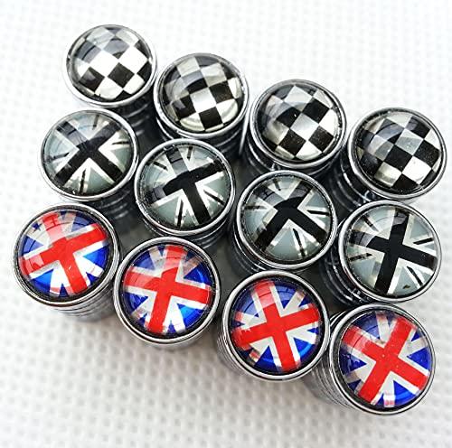 Zorratin Chrome Rim Wheel Valve Stem Cap Cover Screw with Black Jack Button for Mini Cooper r50 r53 r56 r56n f55 f56 r55 r52 r57 r58 r59 r60 r61 jcw