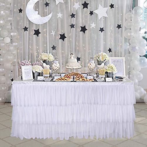 NSSONBEN Bianco Tulle Gonna da Tavolo Tutu Gonne da Tavolo per Banchetto Nuziale Decorazione Casalinga Baby Shower Matrimonio Compleanno 3Yard/9ft/L275cm*H77cm