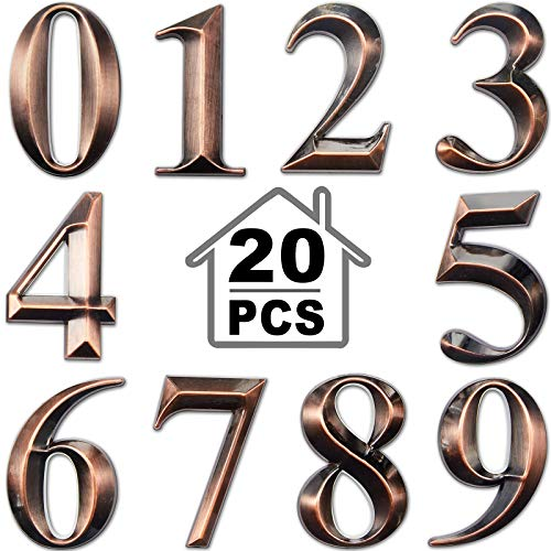 3D Mailbox Numbers 0-9 Self-Adhesive 2 Inch Address Number Stickers Door House Numbers Style Street Mailbox Sign for Apartment Home Office (Bronze,20 Pieces)