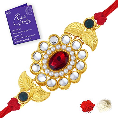 Sukkhi Sleek Gold Plated Floral Rakhi for brother with Roli Chawal and Raksha Bandhan Greeting Card For Men (RAK73418)