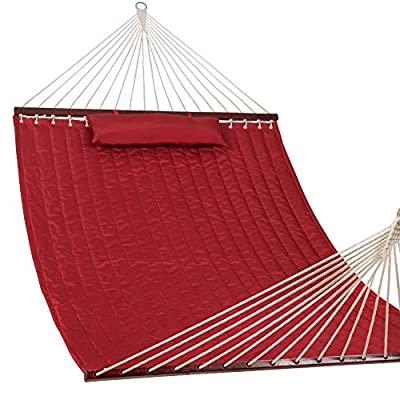 "Lazy Daze Hammocks 55"" Double Size Quilted Fabric Hammock with Hardwood Spreader Bar and Poly Head Pillow Stylish for Two Person, Red"