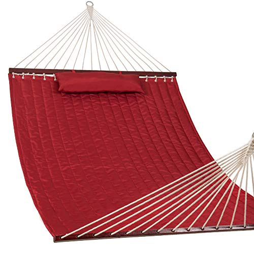 "Lazy Daze Hammocks 55"" Double Quilted Fabric Hammock Swing with Pillow, Sage Green"