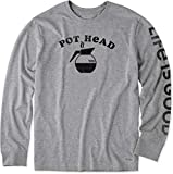 Life is Good Mens Long Sleeve Crusher Graphic T-Shirt, Heather Gray, X-Large