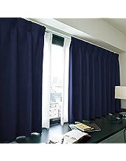 [窓美人] 洗えるカーテンセット [エール] 遮光性カーテン 2枚 + UV カット ミラーレース 2枚 + カーテンフック取り付け済み ロイヤルブルー 幅100×丈150(148)cm 4枚セット
