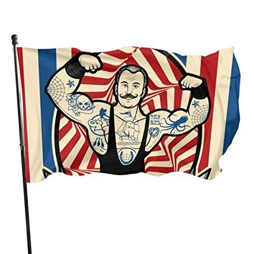 Oaqueen Banderas Icon Nostalgic The Strong Man with Tattoos and Muscles Circus Star Garden Flag Yard Home Outdoor Decor Durable and Fade Resistant 3