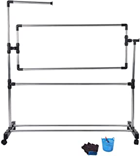 HEEPDD Embroidery Frame, Stitch Master Floor Stand Large Adjustable Lap/Table Stand with Scroll Frame Stainless Steel Cross Stitch Frame with Embroidery Tools