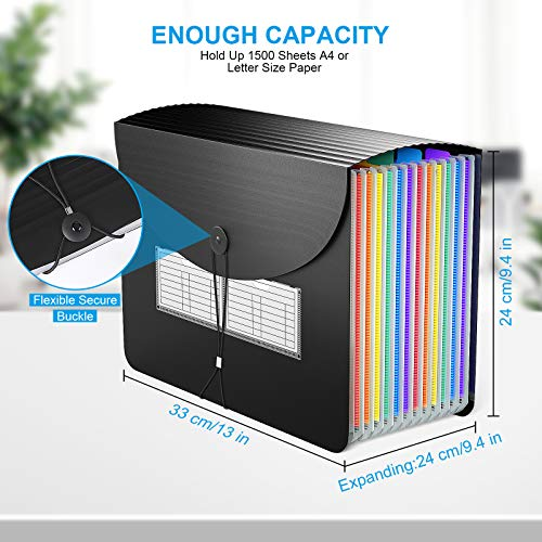 Expanding File Folder/BluePower 12 Pockets Accordian File Organizer/Portable Expandable Plastic Filing Box, Accordion Bill/Paper/Document/Receipt Organizer Folders with Colored Tabs(A4/Letter Size) Photo #2