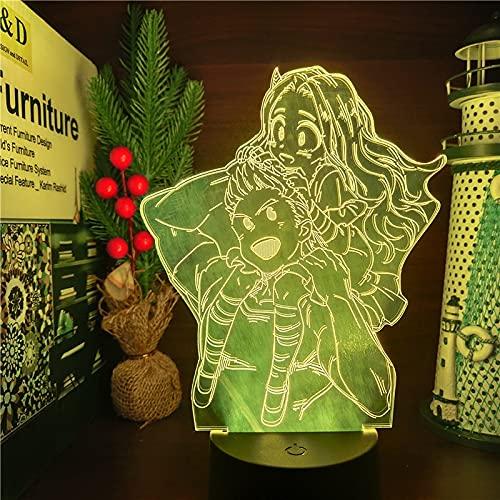 Boku no Hero Academia Million Eri 3D Led ANIME Nightlights LAMP MY HERO ACADEMIA Iluminación Lampara para decoración de dormitorio, Base negra sin control remoto