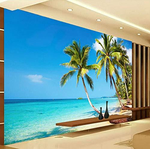 3D Photo Wallpaper Murals Sunshine Sea Water Beach Coconut Tree Wall Mural Wallpaper Living Room Sofa Bedroom TV Backdrop-150 * 105cm